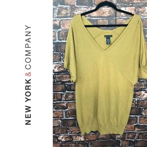 New York & Company Yellow Short Sleeves Sweater